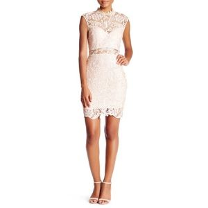 Soieblu Blush Mock Neck Crochet Lace Mini Dress